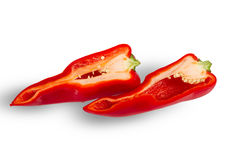 Sliced fresh red peppe. R  on white Royalty Free Stock Images