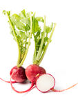 Sliced fresh red radish on white. Sliced fresh red radish isolated on white Royalty Free Stock Photography