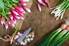 Sliced fresh red radishes and green young onions on white wooden background. Healthy diet with radish. Ingredients for a light spring vegetable salad. The top Royalty Free Stock Photos