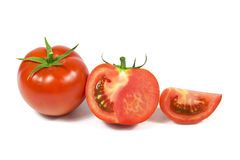 Sliced fresh red tomatoes isolated on white Stock Photos