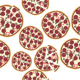 Sliced fresh salami pizza, seamless background Royalty Free Stock Photography