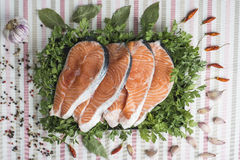 Sliced fresh salmon. A platter with sliced fresh salmon and ingredients to cook it on the table of the kitchen Stock Photos