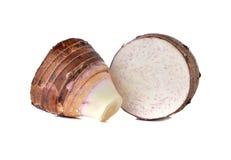 Sliced fresh taro on white Stock Image