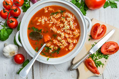 Sliced fresh tomatoes and tomato soup made  Stock Photo