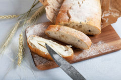 Sliced fresh white bread with spices Stock Image