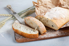 Sliced fresh white bread with spices Royalty Free Stock Photo