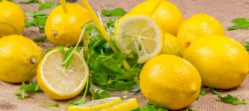 Sliced fresh yellow lemons ready for a nice drink Royalty Free Stock Images
