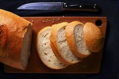 Sliced freshly baked baguette Stock Photos