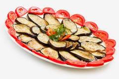 Sliced and fried aubergines close-up Stock Photos