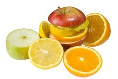 Sliced fruit. Diffrent sliced fruit on isolated white background Stock Image