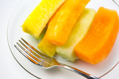 Sliced fruit on plate Royalty Free Stock Photos