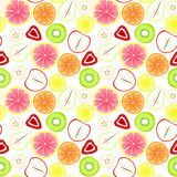 Sliced Fruit Seamless Background. Background with assorted sliced strawberries, apples, pears, kiwi, bananas, lemons, grapefruit and oranges. Seamless tile royalty free illustration
