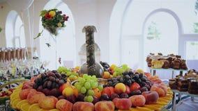 Sliced fruits arrangement, juicy food stock video