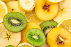 Sliced fruits background Royalty Free Stock Photo