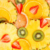 Sliced Fruits. Background. Strawberry, Kiwi, Pineapple Stock Photo