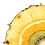 Sliced Fruits. Kiwi, Pineapple, Orange. Macro. Royalty Free Stock Photo