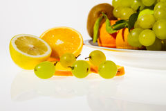 Sliced fruits and plate Royalty Free Stock Image
