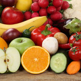 Sliced fruits and vegetables Royalty Free Stock Images