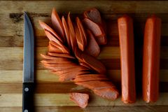 Sliced German Franks or suasages Stock Photography