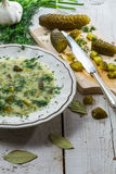Sliced gherkins and cucumber soup Stock Photography
