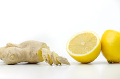 Sliced Ginger And Cutted On Half Lemon Royalty Free Stock Images