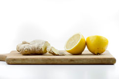 Sliced Ginger And Cutted On Half Lemon Stock Photos