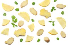 Sliced ginger and lemon isolated on white background top view Stock Photo
