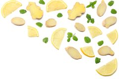 Sliced ginger and lemon isolated on white background top view Stock Photography