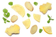 Sliced ginger and lemon isolated on white background top view Stock Images