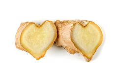 Sliced ginger root with a heart shape Stock Photos