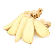 Sliced ginger root isolated Stock Images