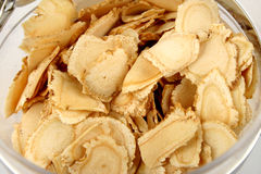 Sliced ginseng. Close up of sliced ginseng a ingredient used in Traditional Chinese Medicine Royalty Free Stock Images