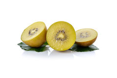 Sliced golden kiwi fruit on white Stock Photos