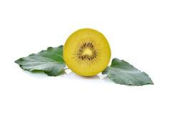 Sliced golden kiwi fruit on white Royalty Free Stock Image