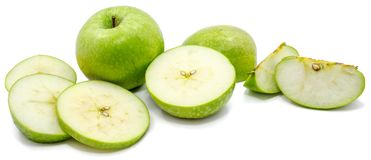 Apple Granny Smith. Sliced Granny Smith apples, one whole apple, circles and slices, isolated on white backgroundn Stock Photo