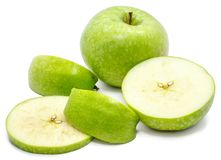 Apple Granny Smith. Sliced Granny Smith, one whole apple, circles and slices, isolated on white backgroundn Stock Photos