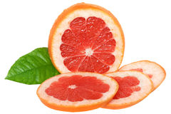Sliced grapefruit isolated Royalty Free Stock Images