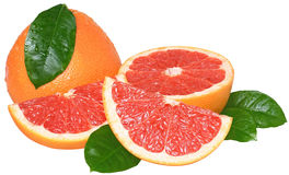 Sliced grapefruit isolated Stock Photo