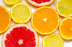 Sliced ​​grapefruit, orange and lemon Royalty Free Stock Images