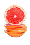 Sliced grapefruit. And slide the top piece Stock Photo
