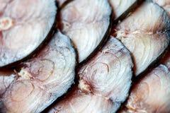 Sliced gravade eller rökte den atlantiska makrillen Närbild av kötttextur Royaltyfri Bild