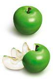 Sliced green 3D apple. Sliced green apple generated 3D picture Stock Image