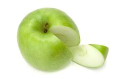 Sliced green apple Royalty Free Stock Photos