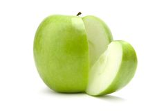 Sliced green apple royalty free stock images