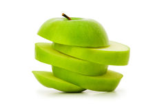 Sliced green apple isolated Stock Photo