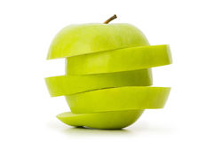 Sliced green apple isolated Royalty Free Stock Photos