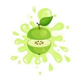Sliced green apple juice splashing, colorful fresh juicy fruit  Illustration. Isolated on a white background Stock Images