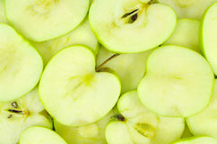 Sliced green apples Royalty Free Stock Photos