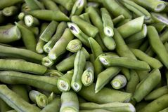 Sliced green beans close-up. Selective focus. Sliced green bean close-up. Selective focus Royalty Free Stock Images