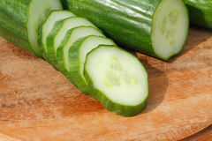 Sliced green cucumber Stock Images